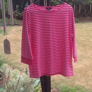 CHAPS WOMENS PLUS STRIPED TEE SZ1X